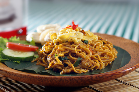 fried noodle: fried noodle in traditional food Stock Photo