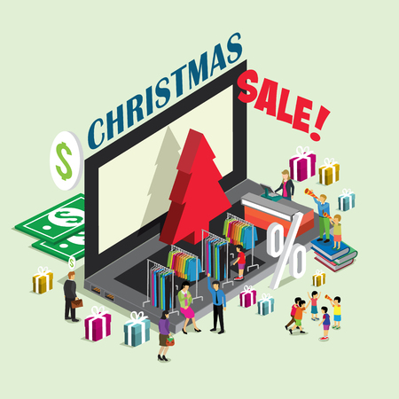 business event: Christmas event for business technology e-commerce with 3D isometric concept