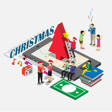 Christmas event for business technology e-commerce with 3D isometric concept