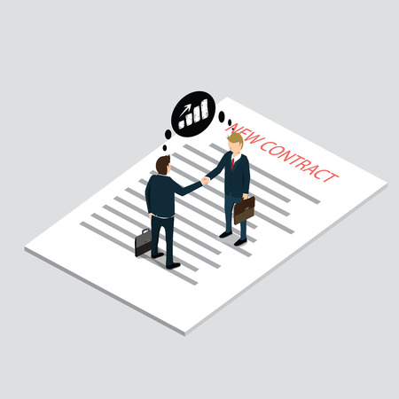 business contract: business people dealing contract with isometric concept