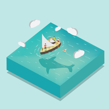 people having fun for sailing in the middle of sea with isometric