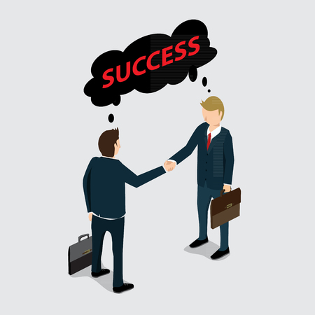 business deal: two business mans handshake for success deal with isometric concept