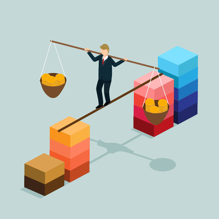business finance balance with isometric