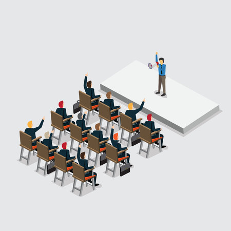 business promoter with isometric Illustration
