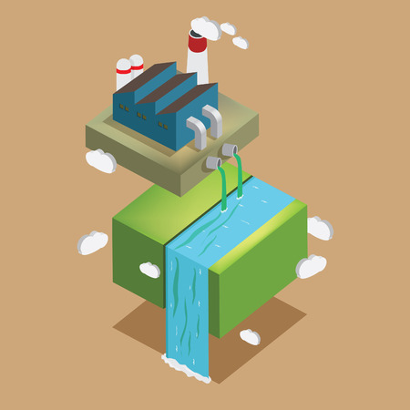 contaminant: Factory pollution isometric