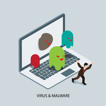 mal: computer attacked by virus and malware