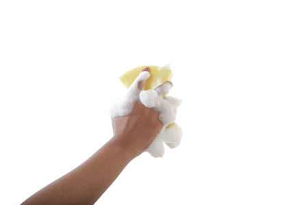 attractive hand holding cleaning product