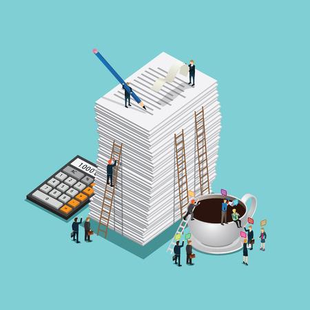 overload: hard work of business man Illustration
