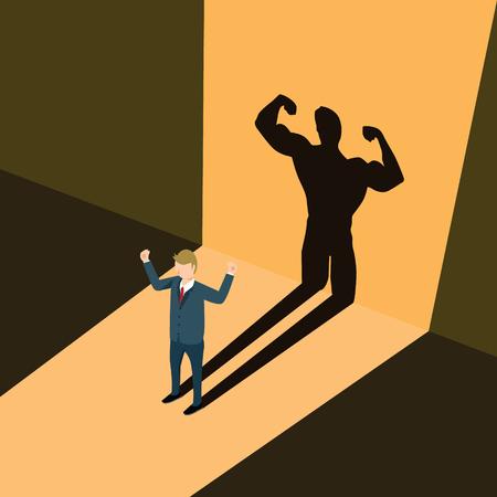 Een bedrijfsmens die schaduw een illustratie van de atletencarrière gieten. Vector Illustratie