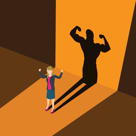 A business woman casting shadow an athlete career illustration.