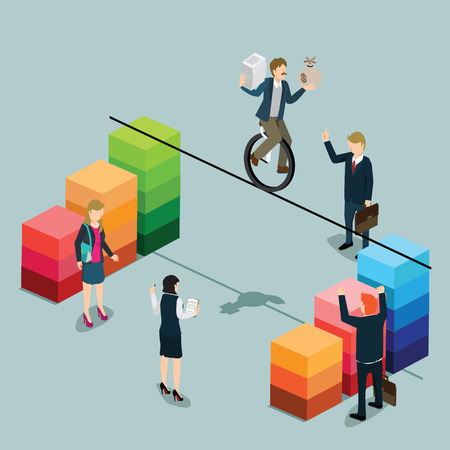 |A balance businessman balancing on profit graph with 3D isometric illustration.