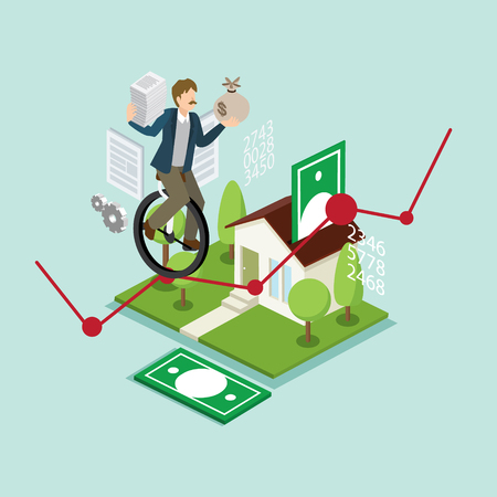 A balance businessman balancing on profit graph with 3D isometric illustration. Illustration