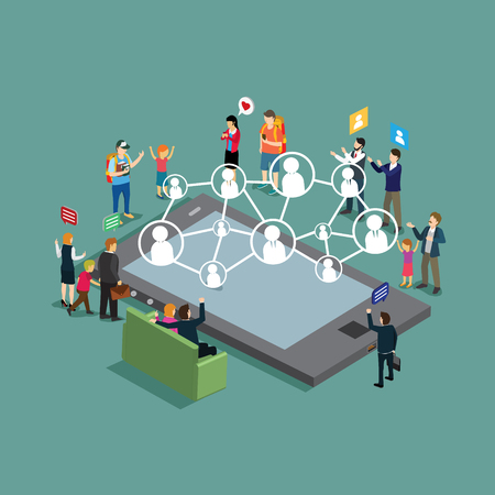 modern technology social networking isometric concept