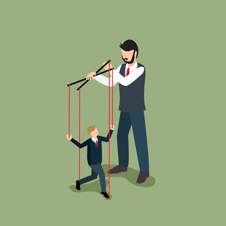 businessman controlling businessman puppet Illustration