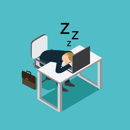 businessman slept in desk office