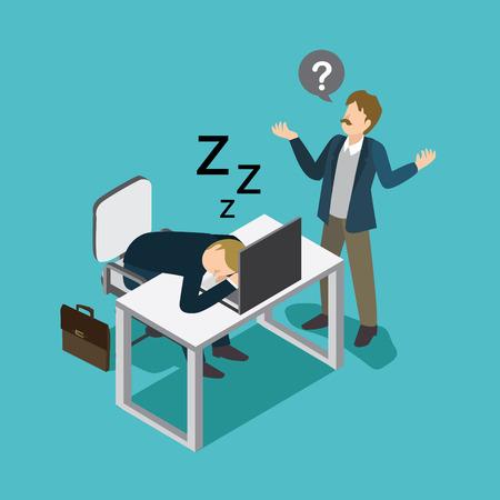 businessman slept in desk office in front of the manager Ilustração