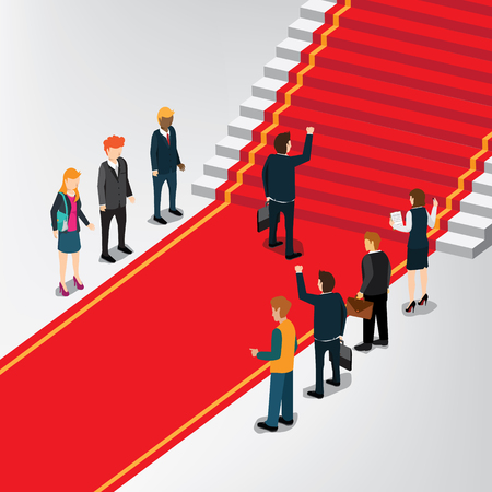A businessman on going to stair of success