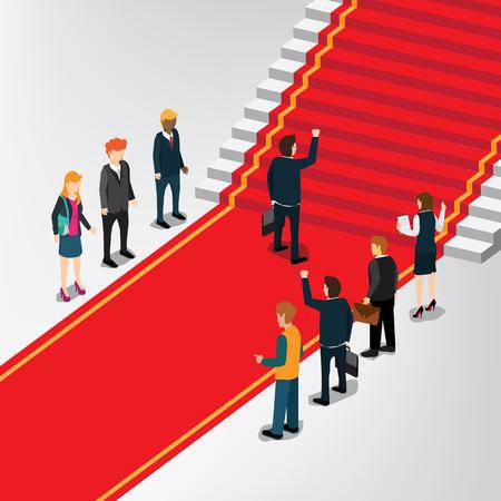 Ein Geschäftsmann, der zur Treppe des Erfolgs geht Standard-Bild - 87565930