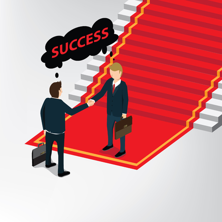 A business stair way to success on a plain background. Vectores