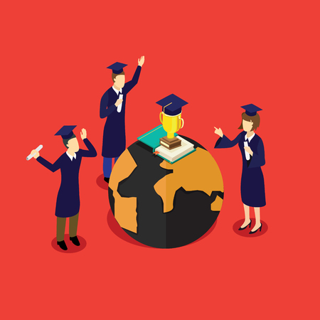 Education success with graduate people around the world Stock Vector - 91261666