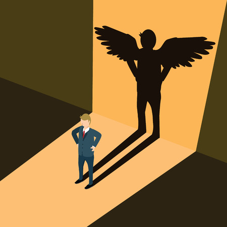 businessman with shadow of business angel Vetores