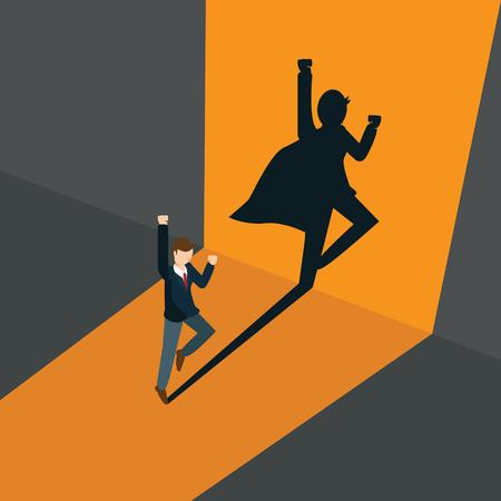 businessman become a super businessman Ilustração
