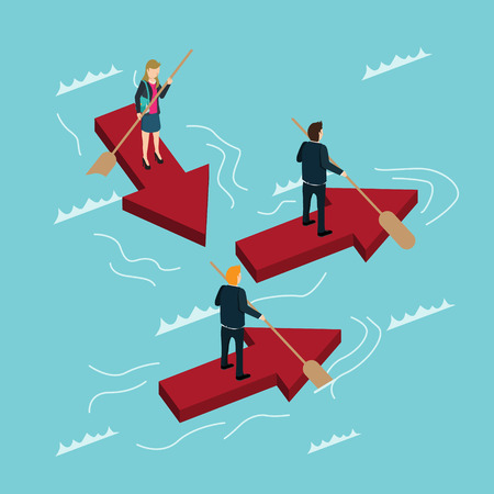 business people driving the ship of arrows Vector illustration. Illustration