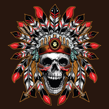 chief skull illustration background for shirt design Vectores