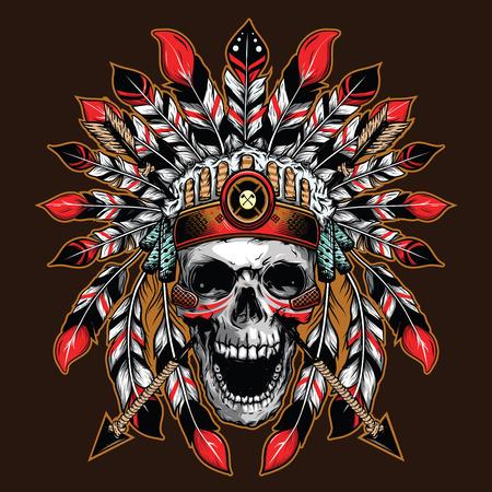 Fondo de ilustración de cráneo jefe para diseño de camiseta