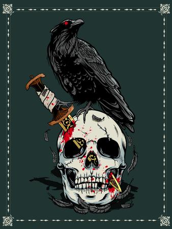 Halloween skull with dark moon illustration Illustration