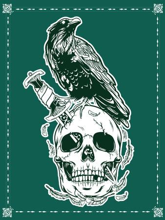 Halloween skull with crow illustration Vetores
