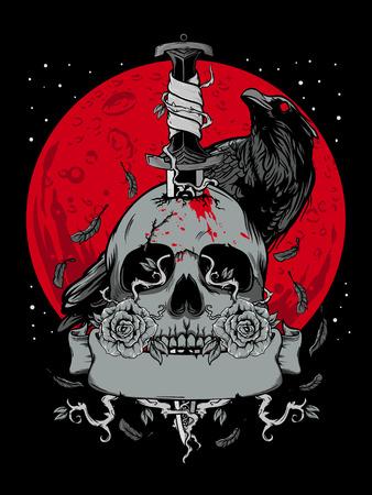 Teschio di Halloween con luna scura e illustrazione di un corvo