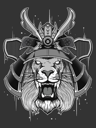 japan warrior with lion head Illustration