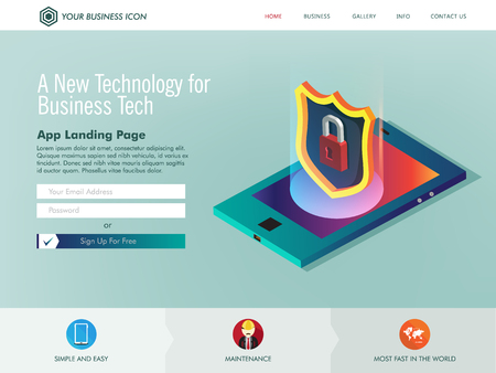 Technology protection for internet networking website landing page template