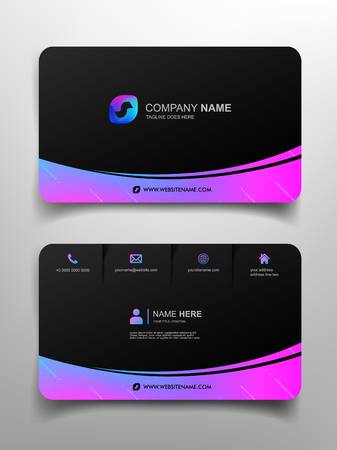 business card template design with simple design 矢量图像