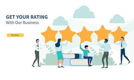 Geschäftsleute, die nach Bewertungen mit flachem Design und Landingpage suchen