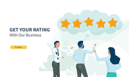 business people looking for rating with flat design and landing page 向量圖像