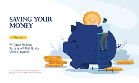 business saving finance with flat design Ilustração