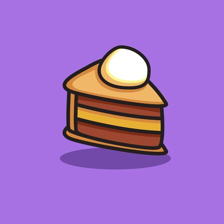 slice cake icon with cream topping for food design Фото со стока - 129304545
