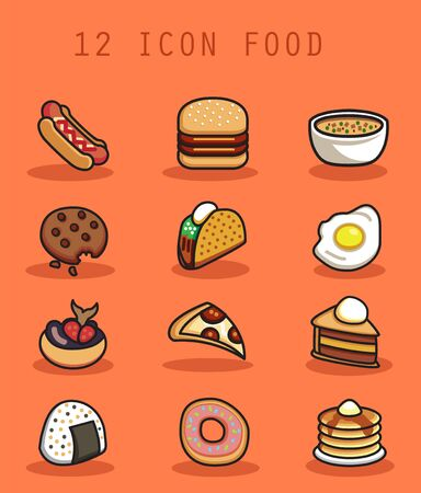 food icon with flat design concept Фото со стока - 129304544