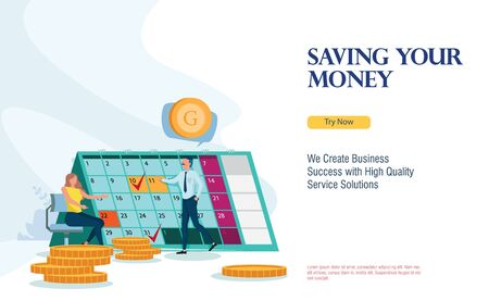 business finance schedule with flat design concept Stok Fotoğraf - 129786680