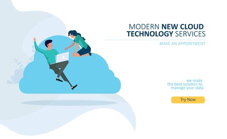 cloud computing technology with flat design concept