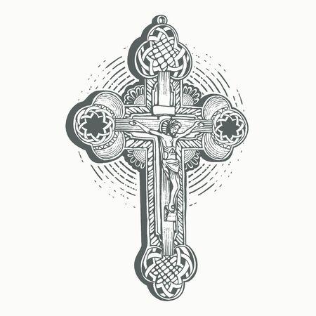 Holy Christ Cross with outline shape engraving Ilustração