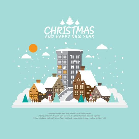 Winter city background with for Christmas background