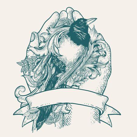 hope hand and dead bird illustration for shirt design