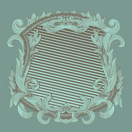 renaissance heraldry badge with vintage  flora ornament Foto de archivo - 149265620
