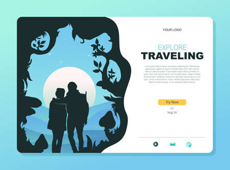 Business Traveling Agent. Landing page web 向量圖像