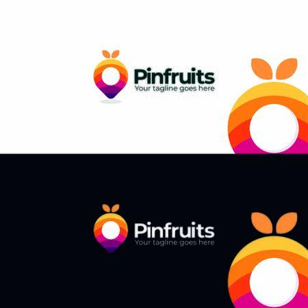 pin fruits colroful logo template