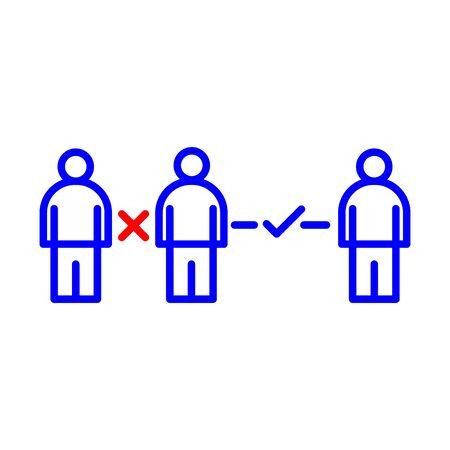 social distance vector symbol icon eps Иллюстрация
