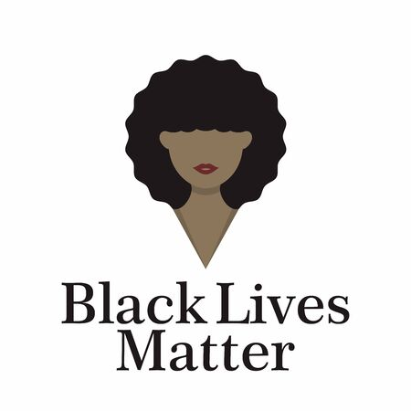 Black lives matter women modern logo, banner, design concept, sign, with black and white text on a flat black background. Illustration